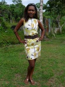 Geel bruin bloem jurk 4