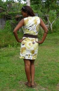 Geel bruin bloem jurk 6