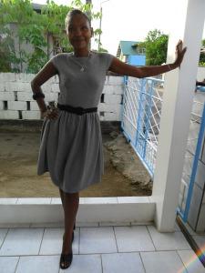 Vintage look dress grijs 4